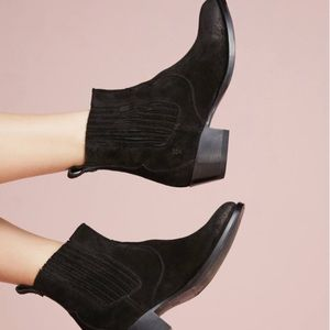 Frye Diana Black Chelsea Western Suede Boots